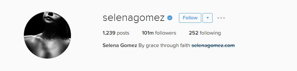 Biggest Instagram Account - Selena Gomez - 100+ million followers